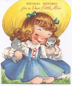 "Vintage Birthday ""Little Miss"" Card"