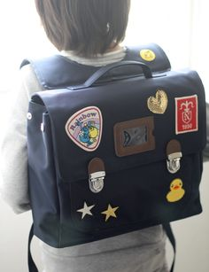 Custom patch work of navy school bag for kids TYPE B #03