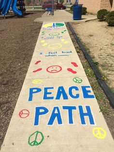 We painted a Peace Path on our school playground to help kids with conflict resolution! Elementary Counseling, School Counselor, Elementary Schools, Career Counseling, Playground Painting, Catholic Schools Week, International Day Of Peace, School Week, Guidance Lessons