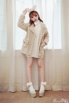 《新作》リボンポケットふわもこコート-全3色-C1284|Autumn Winter Collection | Bobon21(ボボンニジュウイチ)