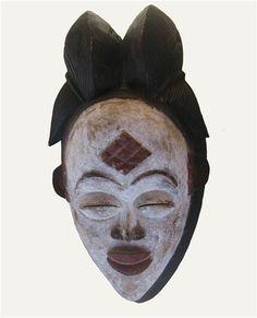 Mask Punu ethnic, from Gabon Yoruba, World Cultures, 3 D, Skull, Face, Ivory Coast, African Art, African, Sculptures