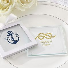 Personalized Glass Coasters Nautical Design Express your sophisticated and trendy style with our personalized glass coasters with nautical rope and anchor design.