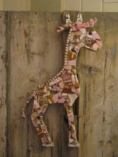 giraff giraff, polymer clay, mosaic shape, giraffeey stuff, mosaic art