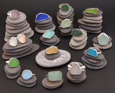 Sea glass rings -I'm in love with sea glass!!!