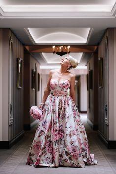 Incredible pink and pastel floral print wedding dress.
