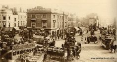 Horse-drawn trams at Elephant & Castle, circa 1880 Victorian Life, Victorian London, Vintage London, Old London, Uk History, London History, Local History, London Pictures, London Photos