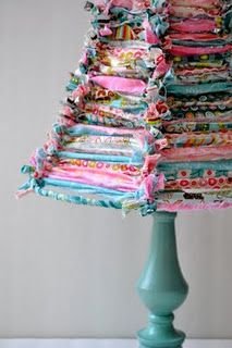 Gorgeous tied lampshade. I can think of all kinds of ways to use this crafty idea...it looks just like a rag quilt.