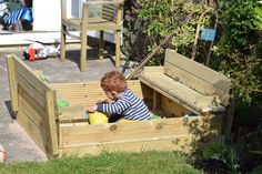 DIY sandpit with fold out benches Wooden Sandpit With Lid, Wooden Sandbox, Outdoor Games, Outdoor Activities, Wood Projects, Woodworking Projects, Kids Indoor Playground, Sand Pit, Wooden Diy
