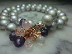 TOM K Switch it pearl Collier Tahitian Rosequartz Amethyst Biwa Gold Drop shape Briolett Grape