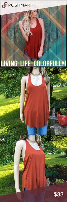 Deep Rust Tank Deep Rust Tank; racerback style back; Tunic length. Boutique Tops