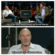 Top Gear and Patrick Stewart. Amazing.