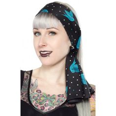 With classic swallow tattoo flash art, this Bad Girl Scarf will be a staple in any pinup's wardrobe. Our Bad Girl Scarves are the perfect length to wear around your neck or around your 'do!