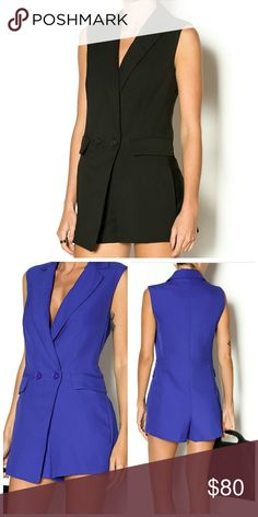 """NWT Re:named Tux (BLack) Romper BLACK ROMPER AVAILABLE ONLY...PURPLE PIC IS JUST TO SHOW BACK VIEW FIT.. Tuxedo style sleeveless vest romper with front pocket flaps and side pockets. Put this look together with a sexy pair of heels and clutch purse!  Fiber Content: 97% polyester, 3% spandex, Lining: 100% polyester.  SIZE & FIT Fit is true to size. Model is wearing size S. Model's height 5'7"""", bust 32"""", waist 25"""", hips 34"""". re:named Pants Jumpsuits & Rompers"""