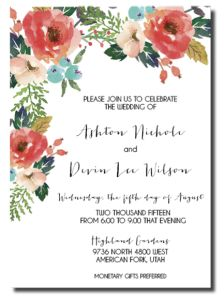 Beautiful Wedding Announcements 3 – One Sided Colorful Wedding Invitations, Affordable Wedding Invitations, Wedding Invitation Samples, Invitation Card Design, Floral Invitation, Floral Wedding Invitations, Wedding Colors, Wedding Flowers, Invites