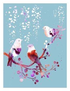 Spring Songbirds (blue) by Aline Yamada.