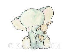Vivaio Art Elefante abbraccio stampa di trafalgarssquare su Etsy