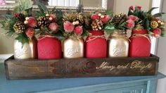 Check out this item in my Etsy shop https://www.etsy.com/listing/473450580/mason-jar-centerpice-rustic-christmas