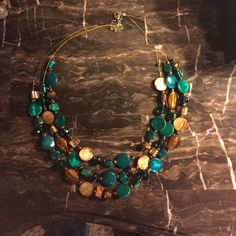 Green and brown beaded wire necklace Cute beaded necklace- teal green and brown beads with brown wires Jewelry Necklaces
