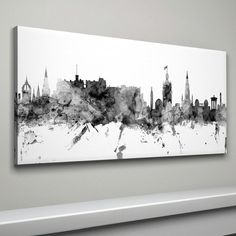 Edinburgh Skyline Canvas Edinburgh Scotland Cityscape by artPause