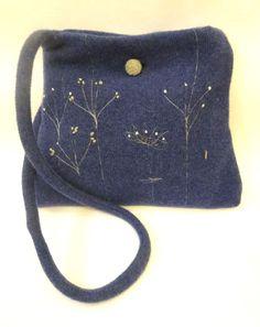 Janie Large Sprig Shoulder Bag - Navy Blue