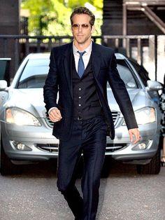 Three piece suit (on Ryan Reynolds)