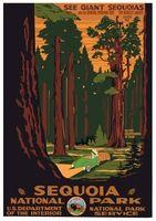 Секвойя Национальный Парк Лес Старинные Ретро Декоративная Плакат DIY Стены Дома…
