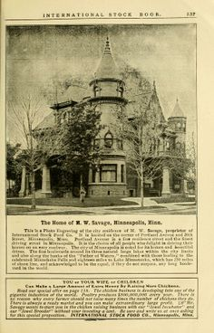 M.W. Savage home that was located on the corner of 26th and Portland Ave in Minneapolis, Minnesota