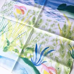 【asami_hattori】さんのInstagramをピンしています。 《こちらはgreen × blue.  #watercolor#isetan#mitskoshi#shinjuku#ginza#ハンカチ#illustration#タンポポ#アクアリウム#botanical#numbertwentyone#dandelion#handkerchief#aquarium#tropicalfish》