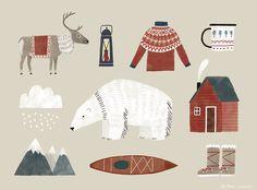 Greenland+winter+polar bear+reindeer+postcard, Tina Schulte Illustration
