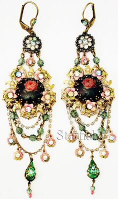 Michal Negrin Vintage Style Rose Cameo Crystal Earrings | eBay