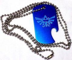 "Zelda Game Blue Pendant With 30"" Chain Dog Tag Aluminum Bottle Opener EDG-0019"