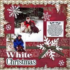 Shabby White Christmas Scrapping Pagewith snowflakes By Dog Scrapbook, Paper Bag Scrapbook, Scrapbook Sketches, Scrapbook Page Layouts, Scrapbook Cards, Birthday Scrapbook, Scrapbook Templates, Christmas Scrapbook Layouts, Christmas Layout