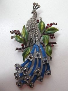 gorgeous rare dujay peacock brooch. (click for more info)