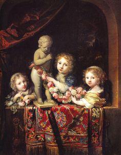 Group of children at the window, Caspar Netscher. Dutch Baroque Era Painter (1635-1684)