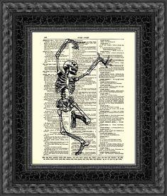Dancing Skeleton Print Happy Skeleton R by reimaginationprints, $10.00