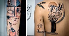 Artist Duo Creates Surreal Cubist Tattoos Based On Clients' Stories | Bored Panda