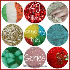40 Sensory Bin Fillers Collaborative Series. A LOT of fun ideas for sensory bins! You could get really creative with these!  #speechtherapy #hawaii #sensorybins