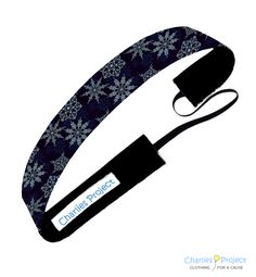 Navy Snowflakes - 1 inch Non-Slip Headband - Charlies Project Headbands for a Cause