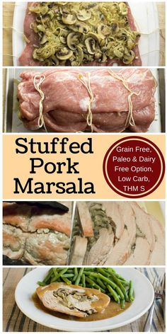 Stuffed Pork Marsala is an impressive way to feed your dinner guests. You'll be surprised how easy it is. Low Carb, THM S, Paleo & Dairy Free Option via @joyfilledeats