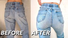 crop top outfits with jeans Diy Jeans, Jeans Refashion, Jeans To Shorts, Diy Clothes Jeans, Diy Ripped Jeans, Redo Clothes, Sewing Jeans, Refaçonner Jean, How To Make Jeans