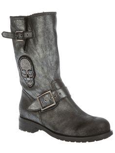 Philipp Plein #skull #biker #boots in metallic grey