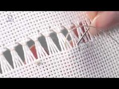When the straight stitch just won't do use the zigzag stitch for a stronger hold. Learn how with this tutorial video. Learn How To Hem Stitch Ladder - 2 threads This Pin was discovered by Yıl Hardanger Embroidery, Hand Embroidery Stitches, White Embroidery, Hand Stitching, Machine Embroidery Designs, Embroidery Patterns, Hem Stitch, Swedish Weaving, Drawn Thread