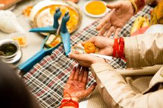 Haldi ceremony at Indian wedding, Delhi summer wedding, puja time, marigold, tilak, indian customs, traditions, candid wedding photography