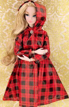 Barbie Plasticized Plaid Raincoat with Hood