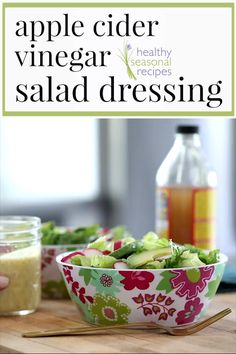 Apple Cider Vinegar Salad Dressing RecipeBye bye bottled dressing A simple 5 minute recipe for salad dressing using apple cider vinegar Plus a simple list of the elements. Apple Cider Vinegar Salad Dressing Recipe, Salad Dressing Recipes, Salad Recipes, Recipe For Salad, Healthy Salad Dressings, Homemade Salad Dressings, Vinegrette Salad Dressing, House Dressing Recipe, Sweet Salad Dressings