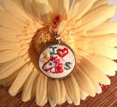 Hand embroidered unicorn pendant by bellefamille on Etsy, $20.00