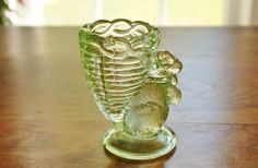 #Vintage #GreenGlass Rabbit #EggCup, Light Spring Green Bunny Pressed Glass Toothpick Holder, Collectible Spring Summer Serving Decor - SOLD! :)