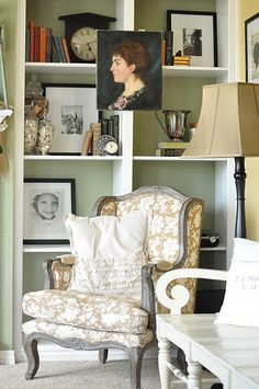 Maybe I can paint/recover our French chairs to look like this for living room.