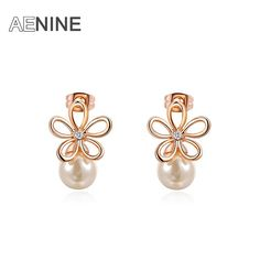 AENINE Casual Earrings Five Leaves Flower with Simulated Pearl Stud Earrings Jewelry For Women Gifts Aretes L2020542185 #Affiliate