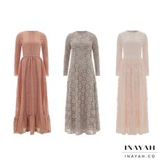 INAYAH | Summer Inspired Maxi Dresses - which style is your favourite? 1, 2 or 3? Ellen #Lace #Gown in Dusty Pink + Stone #Lace #Dress with Flare + Ashlyn #Lace #Gown in Pink - www.inayah.co